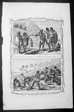 1768 Drake Antique Print Clothing, Weapons & Habits of the Khoikhoi South Africa