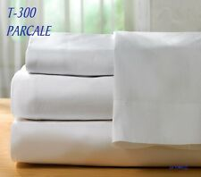 1  NEW WHITE QUEEN DEEP FITTED SHEET 60X80X12 BRIGHT WHITE T-300 HOTEL PARCALE