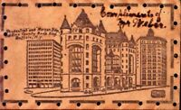 BUFFALO NEW YORK~PRUDENTIAL & MORGAN & ERIE BANK BLDGS-LEATHER  POSTCARD 1900s