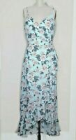 Altar'd State Wrap Dress Small Boho Blue Print Floral Hippie Ruffled Festival