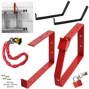 Ladder Rack Wall Brackets Lockable Heavy Duty Triple Double Padlock Chain Lock