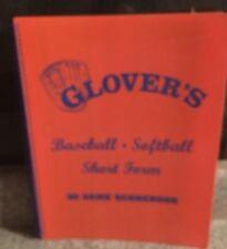Glover Baseball/Softball Scorebook 30-short form-30 game #Bb104 Brand New