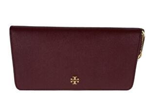 Tory Burch (74179) Emerson Leather Imperial Garnet Zip Continental Wrist Wallet