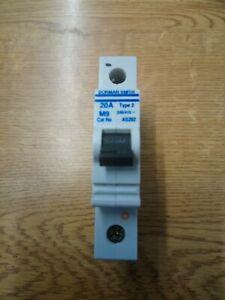 Dorman Smith M9 AS202 MCB  20 Amp Type 2 MCB Circuit Breaker Used