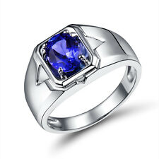 18K White Gold  Enagement 6x8mm Oval Tanzanite Gemstone Wedding Fine Men Ring