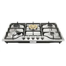 "Pro 30"" Stainless Steel Built-in 5 Stoves Natural Gas Hob + Gold Burner Cooktops"