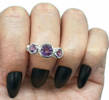 Amethyst Ring, 3 Sizes, Sterling Silver, Trilogy Ring, Three Stone Ring