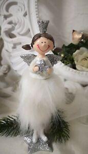Angel Figure Spring Crown Christmas Deco White Shabby Vintage