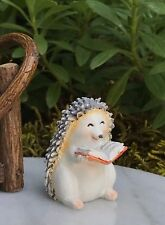 Miniature Dollhouse FAIRY GARDEN Figurine ~ Little Hedgehog Reading a Book ~ NEW