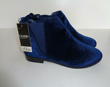 New Ladies Chelsea Ankle Low Block Heel Flat Faux Suede Boots Shoes Size 5