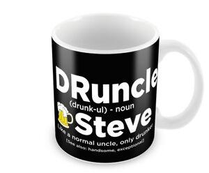 Personalised DRUNCLE Uncle Mens Mug Christmas Gift for Him Drunk Uncle 6 Colours