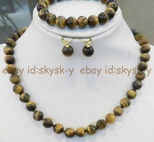 Round Beads Necklace Bracelet Earring Set Natural 10mm African Tiger Eye Gems