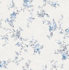 Wallpaper Designer Blue and Gray Floral Rose Vine on Eggshell White