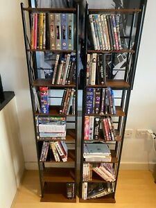 2 x DVD shelving units - DVD Blu-ray CD storage shelves - freestanding