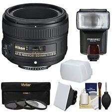Nikon 50? Mm F / 1.8G Af-S Nikkor Lens With 3 Filter + Flash & 2 Outlet O Camera