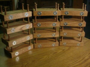 """LOT 12 OAK DUCK DECOY STANDS WOOD DISPLAY 1-1/2"""" PEGS SILVER WINCHESTER"""