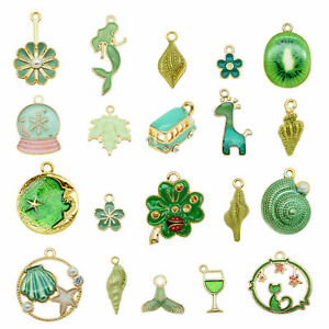 20pcs Mixed Assorted Enamel Flower Animal Series Pendant Charms DIY Accessories