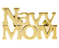 Navy Mom Script Gold Overlay Hat or Lapel Pin H14612D12