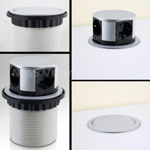 BITUXX Tischsteckdose 4 fach versenkbar rund 4er Steckdosenleiste Steckerleiste
