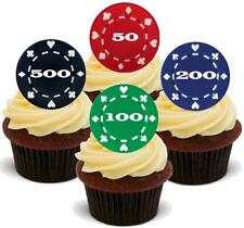 Poker Chips Multi Numbered Mix 12 Edible Stand Up Premium Wafer Card Cake Topper