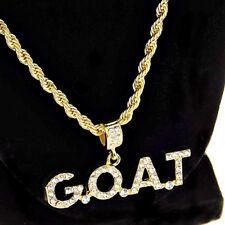 """Mens G.O.A.T. Rope Chain Bling Goat  Pendant Gold Finish Hip Hop Necklace 24"""" In"""