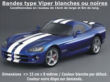 Stickers BANDES type VIPER Blanches ou Noires - 15cm x 800cm (2 x 400cm)