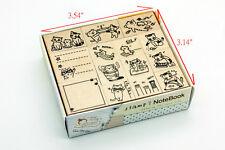Set of 14 Pcs Cats Kitten Journal Wood Rubber Stamp Scrapbook