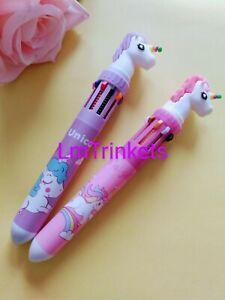 1x Unicorn 10 Multi Colour Ballpoint Pen Girls School Stationary Gift Birthday