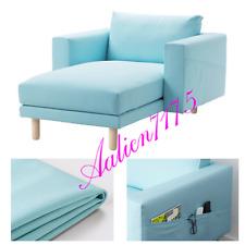 IKEA NORSBORG Chaise Slipcover Cover Edum Light Blue w/ Armrest 003.042.14 NEW