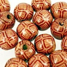 Wooden Beads, 15 x Round  Boho Style Printed Pattern - 18mm W318
