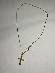 Chain And Crucifix Cross Pendant Necklace 14K Yellow Gold 585 Made Italy 16""
