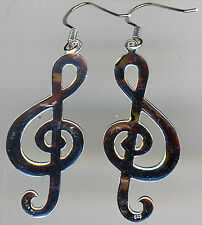 "925 Sterling Silver Large Musical  Note Treble Clef Long Drop Earrings 55mm (2"")"