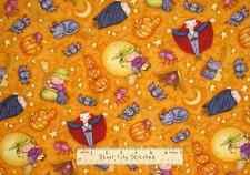 Halloween - GLOW IN THE DARK - Pumpkin Witch Dracula Orange Cotton Fabric YARD