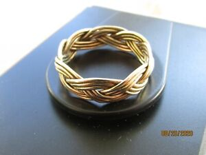 Solid 14K Gold 7.5 gram Hand Woven Mens Ring - Beautiful gift ! One of a kind !
