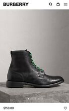Burberry Man Leather Brogue Boots with Bright Laces