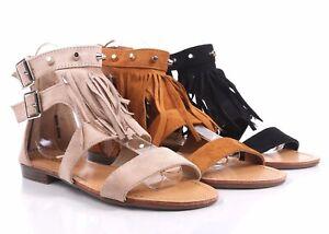 Back Zipper Adjustable Buckle Studs & Fringe Womens Gladiator Thong Sandals
