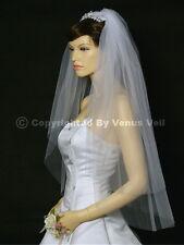 2T White Bridal Fingertip Length Cut Edge Wedding Veil