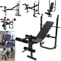Weight Bench Set Adjustable Home Gym Press Lifting Barbell Exercise Workout