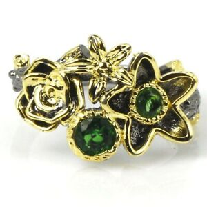 Sublime Antique Vintage Green Emerald Woman's Present Black Gold Silver Ring 8.0