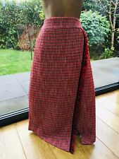 M&S BRIGHT RED MIX CHECKED PENCIL FAUX WRAP LINED SKIRT SIZE 20 NEW RRP £45