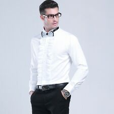 Mens Gents Cotton Wing Collar White Ruffled Front Slim Shirt Party Formal Blouse