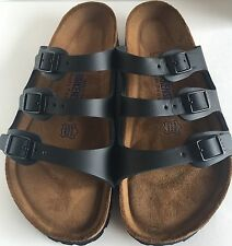 Birkenstock Florida 154471 size 35/US L4 R Black Leather Soft Footbed  Sandals