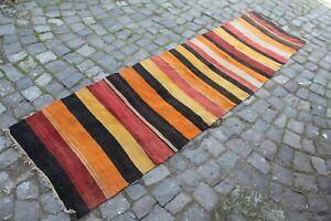 "FREE SHIPPING Vintage Handmade Turkish Oushak Runner Rug Kilim 9'x2'4"""