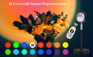 16 Colors Sunset Projector Projection USB Atmosphere LED Desk Night Lights Lamp