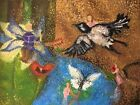 """Pointillism Oil Painting. Fairy Tale Of Thumbelina. Large Size 40*30"""""""