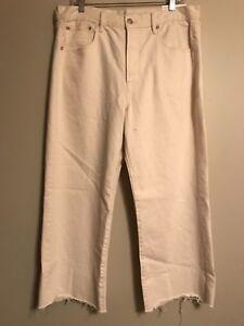 NWT AMERICAN EAGLE Misses Wide Leg Crop Jeans Sz 14R Cream #688491