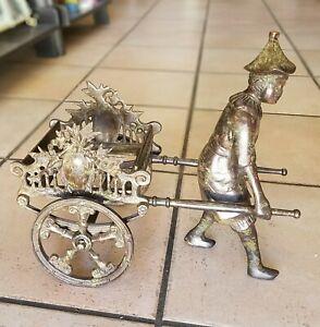 Castilian Bronze Rickshaw Man Pulling Cart Vase Planter Holder Original Sticker
