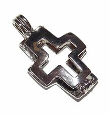 Cross Bead Cage Pendant Fits 6.5mm Bead or Pearl - Wish / Scented Locket