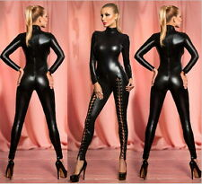 Black Catwoman False Leather Wetlook Jumpsuit Catsuit Clubwear Fancy Dress 1056