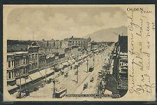 Ut Ogden Rotogravure 1904 Washington Avenue Street Scene Trolleys Wagons Cars